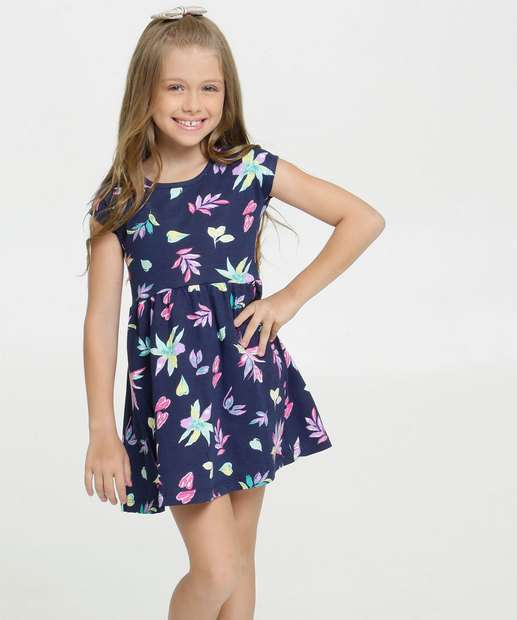 Image_Vestido Infantil Estampa Floral Manga Curta Brandili