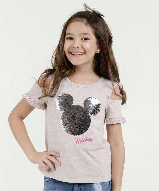 Image_Blusa Infantil Paetês Mickey Manga Curta Disney