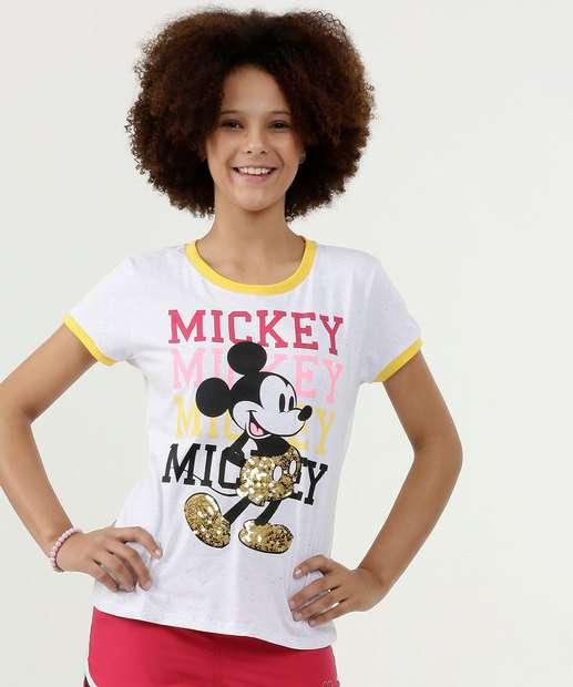 Image_Blusa Juvenil Estampa Mickey Paetê Manga Curta Disney