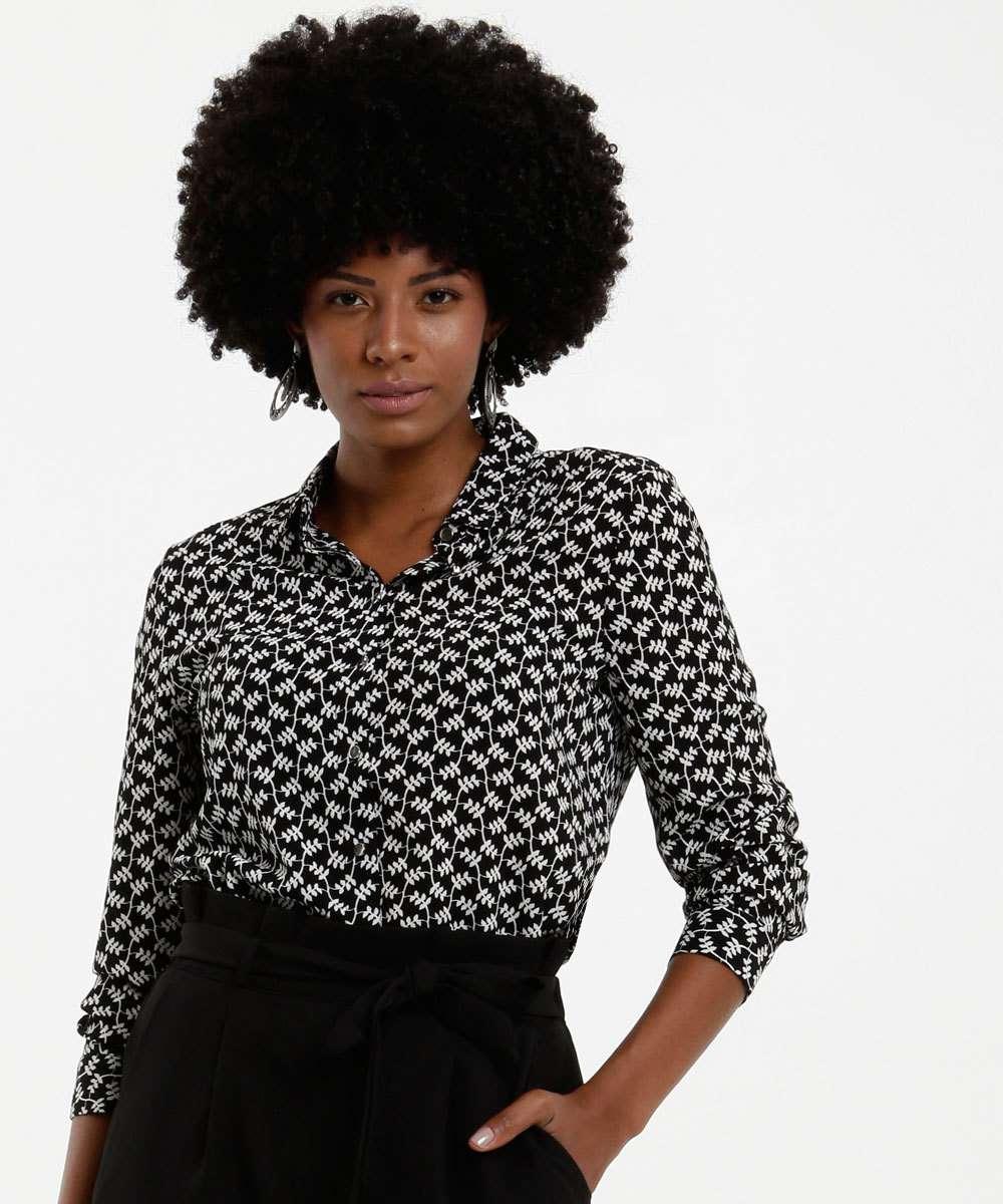 Camisa Feminina Crepe Estampada Marisa