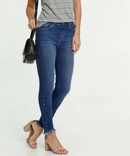 Image_Calça Jeans Destroyed Skinny Tachas Feminina Marisa