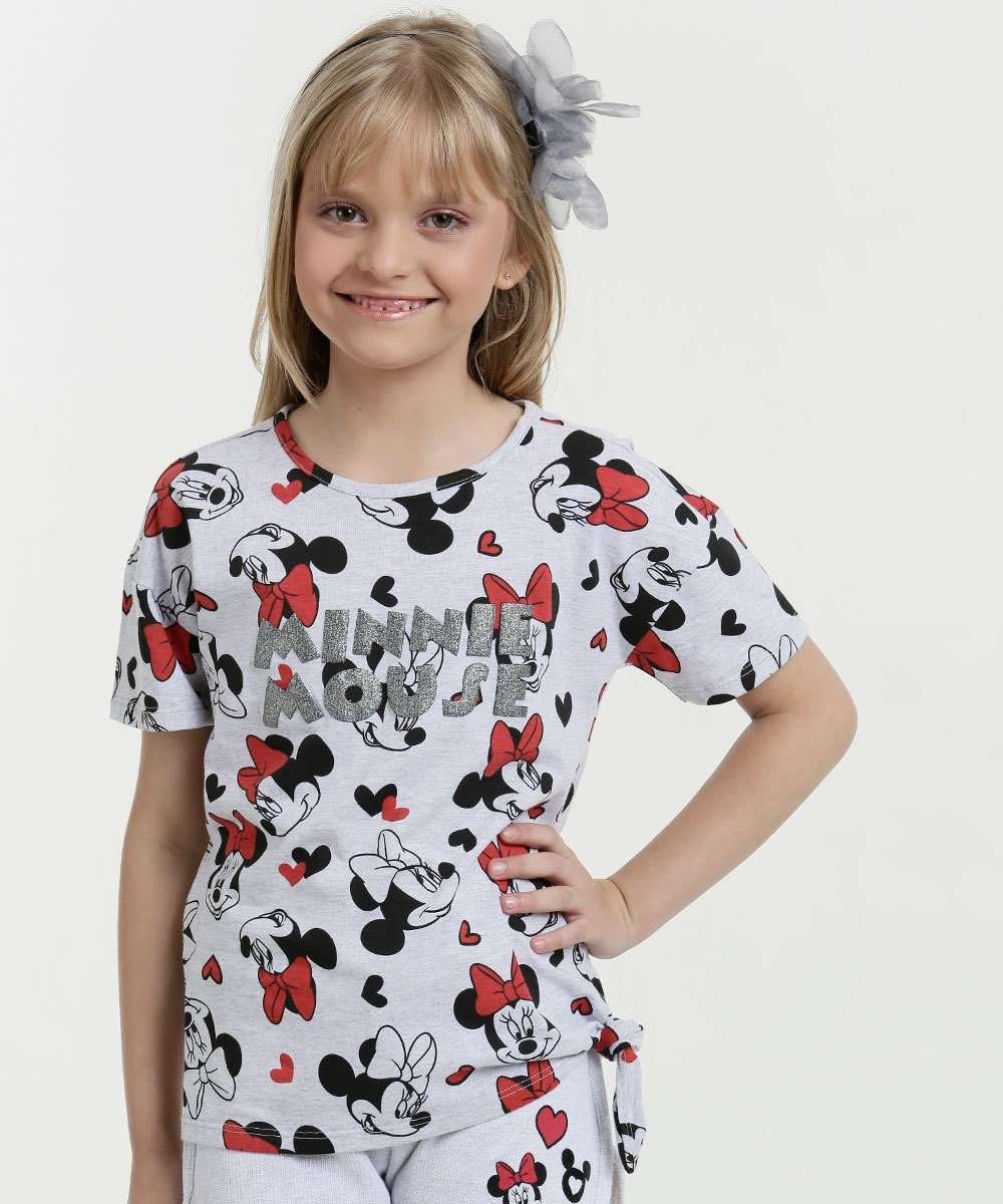 Blusa Infantil Estampa Minnie Brilho Manga Curta Disney