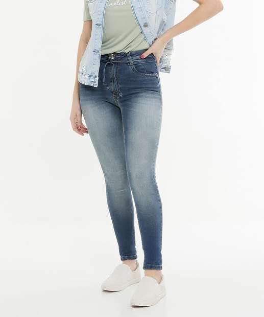 Image_Calça Skinny Feminina Tiras Amarração Zune Jeans