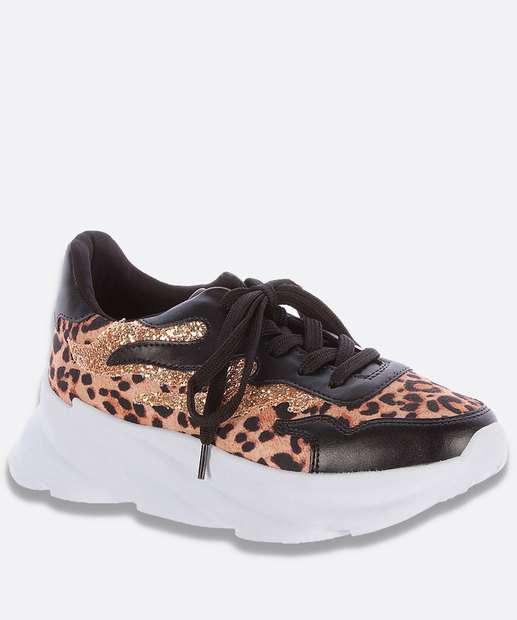 Image_Tênis Feminino Chunky Sneaker Animal Print Brilho Zatz