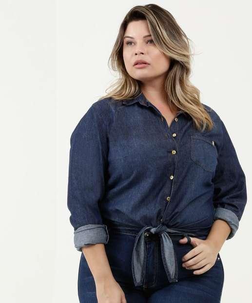 Image_Camisa Feminina Jeans Plus Size Manga Longa