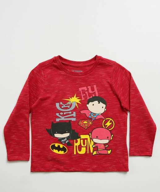 Image_Camiseta Infantil Flash Manga Longa Liga da Justiça