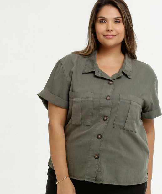 Image_Camisa Feminina Sarja Bolsos Plus Size Marisa