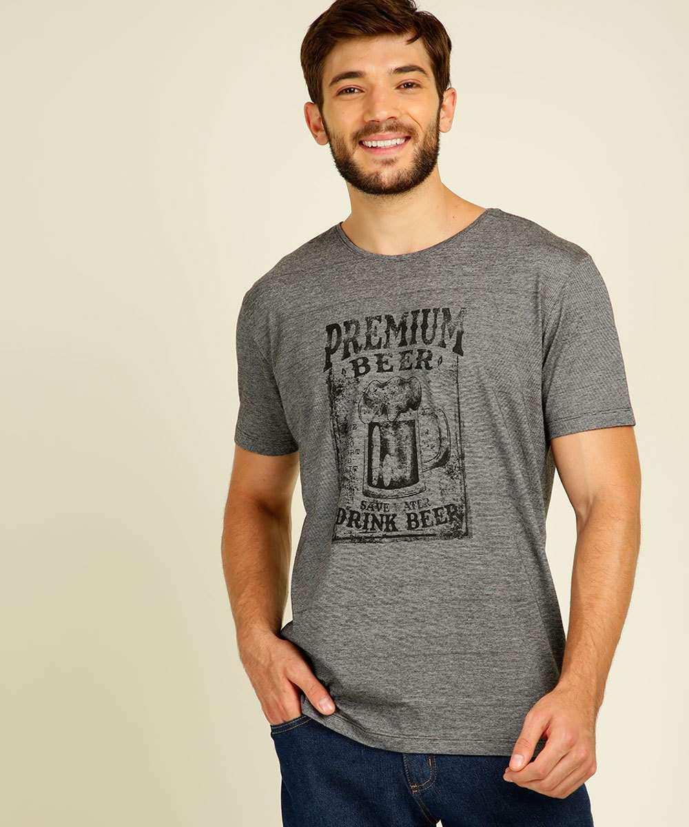 Camiseta Masculina Estampa Frontal Manga Curta Cia Gota