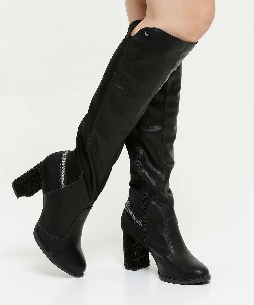 Bota Feminina Over The Knee Salto Grosso Textura Mississipi
