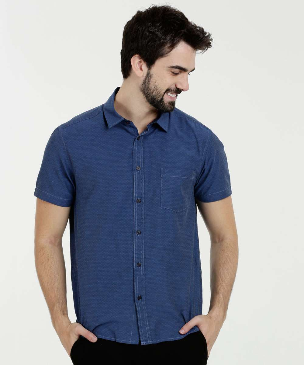 Camisa Masculina Textura Manga Curta MR