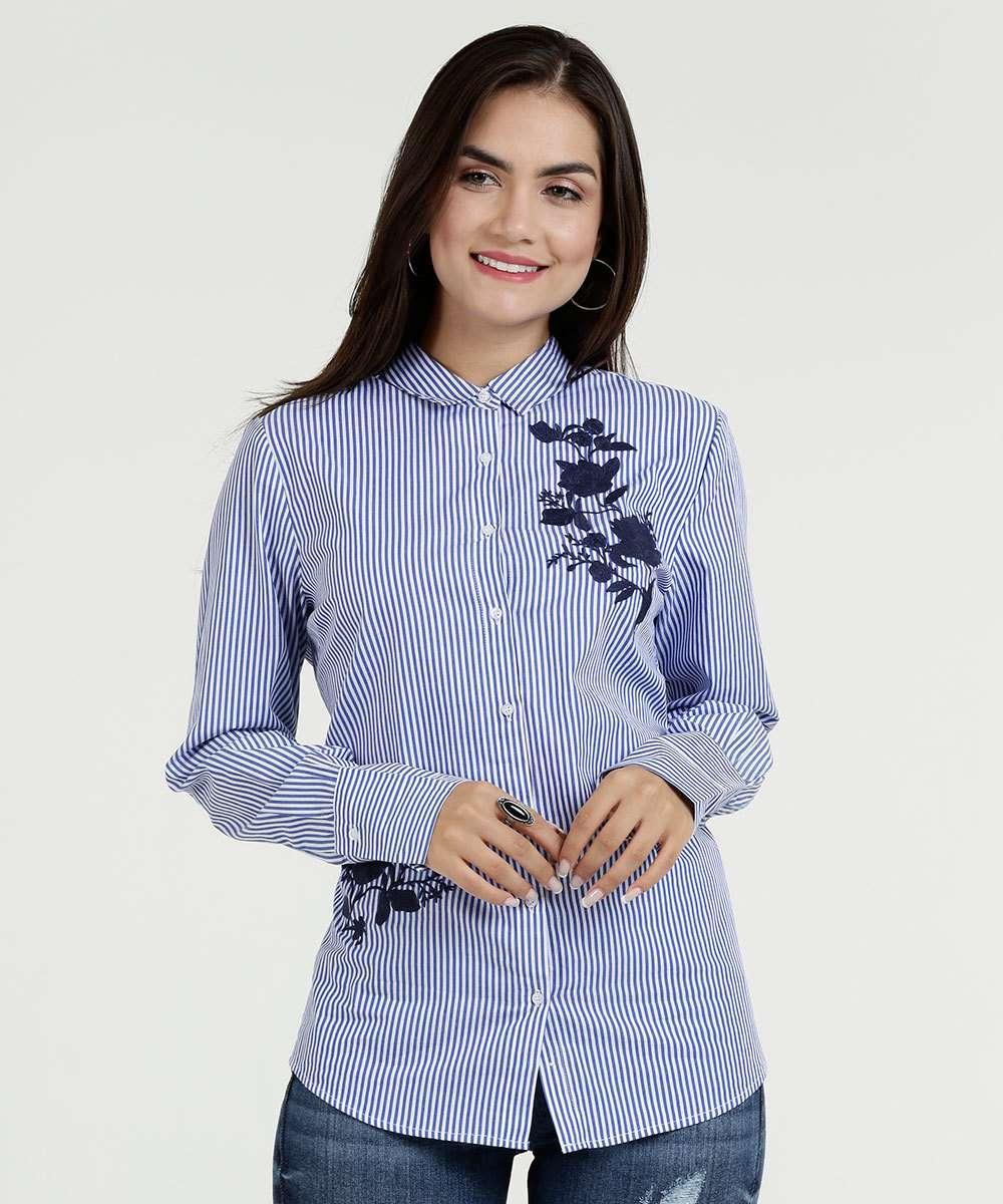 b9de19c26 Camisa Feminina Listrada Bordado Flores Marisa