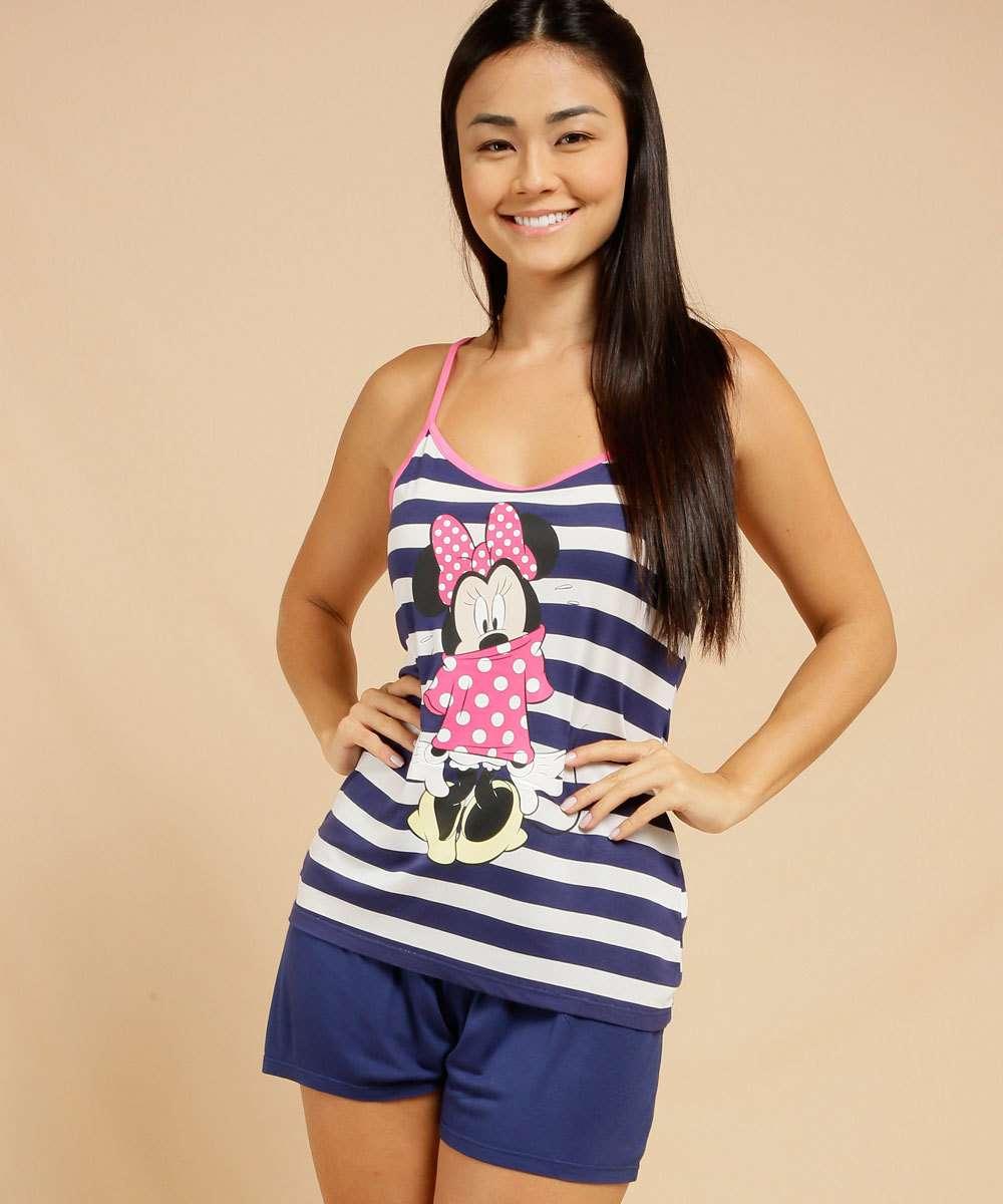 Pijama Feminino Listrado Estampa Minnie Disney