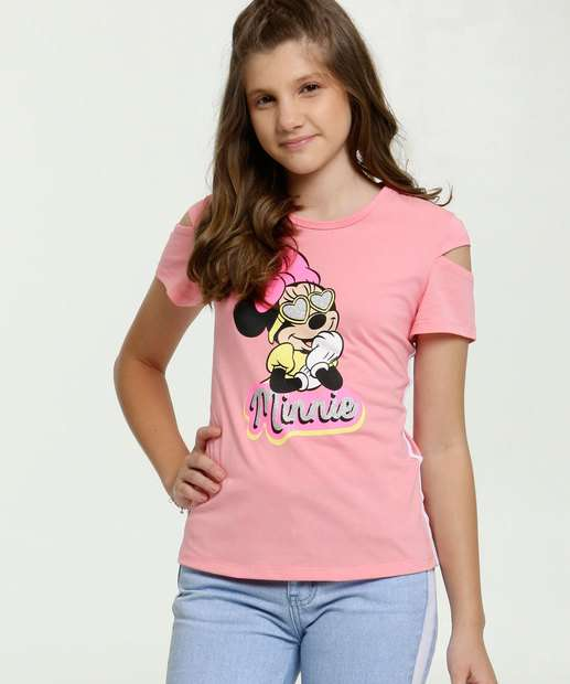Image_Blusa Juvenil Open Shoulder Estampa Minnie Glitter Disney