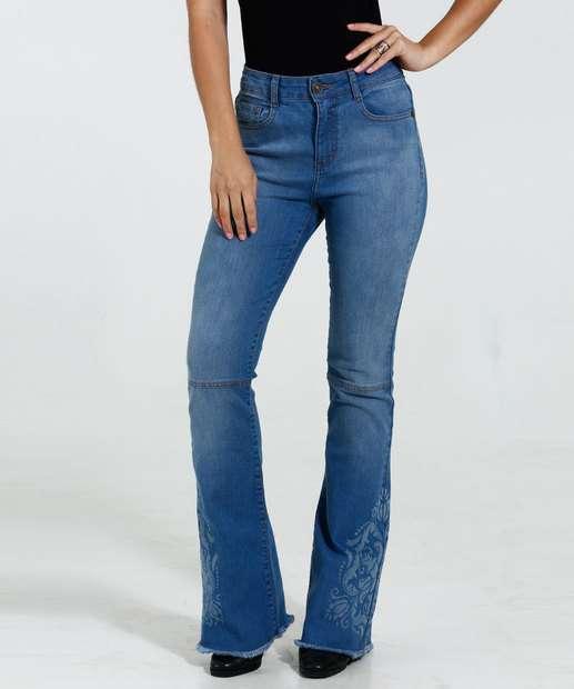 Image_Calça Feminina Jeans Flare Estampada Marisa