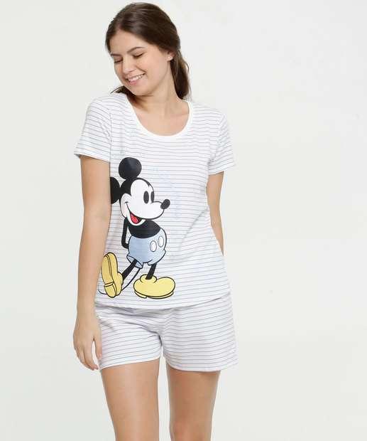 Image_Pijama Feminino Listrado Estampa Mickey Manga Curta Disney