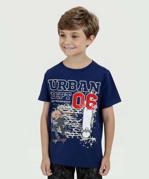 9fd3ee663426c Camiseta Infantil Estampa Frontal Manga Curta