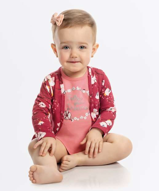 Image_Body Infantil Estampa Floral Manga Longa