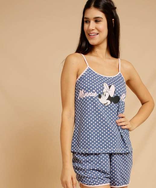 Image_Pijama Feminino Estampa Minnie Bolinhas Alças Finas Disney