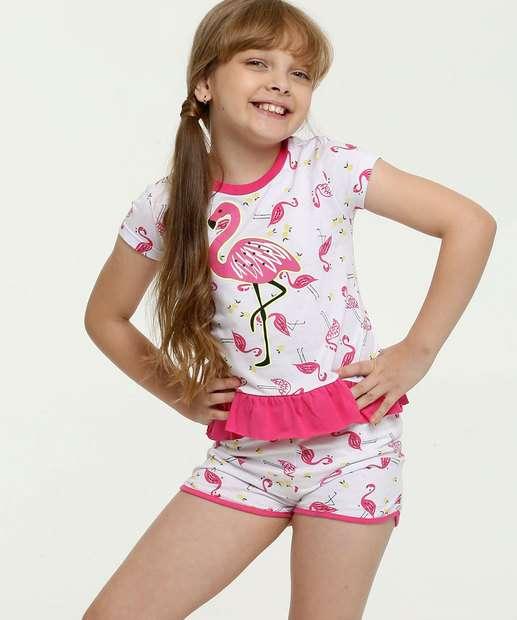 Image_Pijama Infantil Estampa Flamingo Manga Curta Evanilda