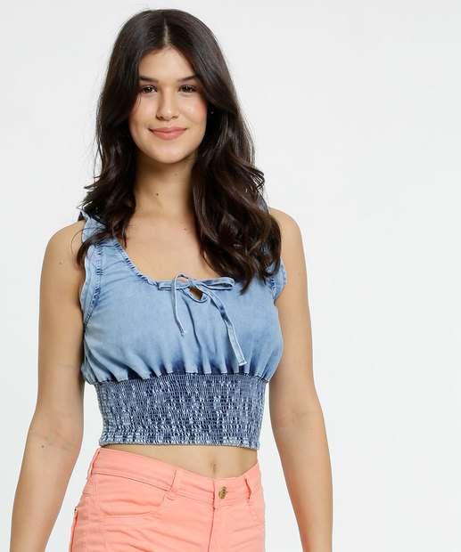 Image_Blusa Feminina Cropped Jeans Lastex Razon