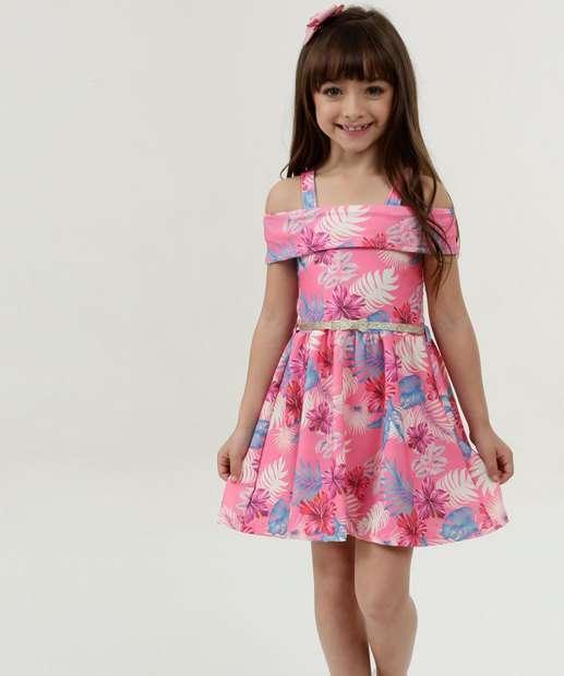 Image_Vestido Infantil Estampa Floral Open Shoulder