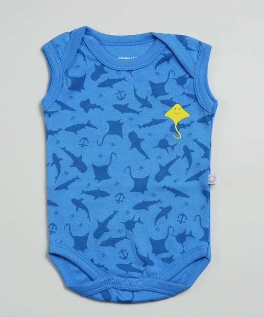 Image_Body Infantil Bebê Estampa Tubarão Pimpolho Tam 0 a 8 Meses