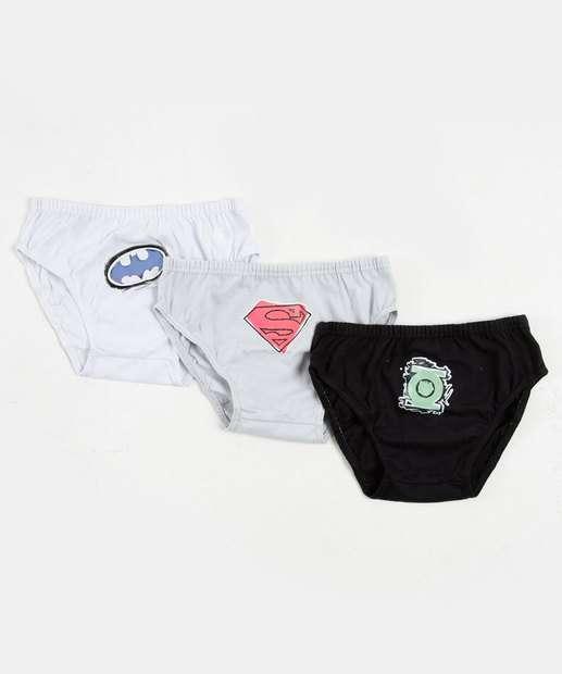 Image_Kit com 3 Cuecas Boxer infantil Liga da Justiça