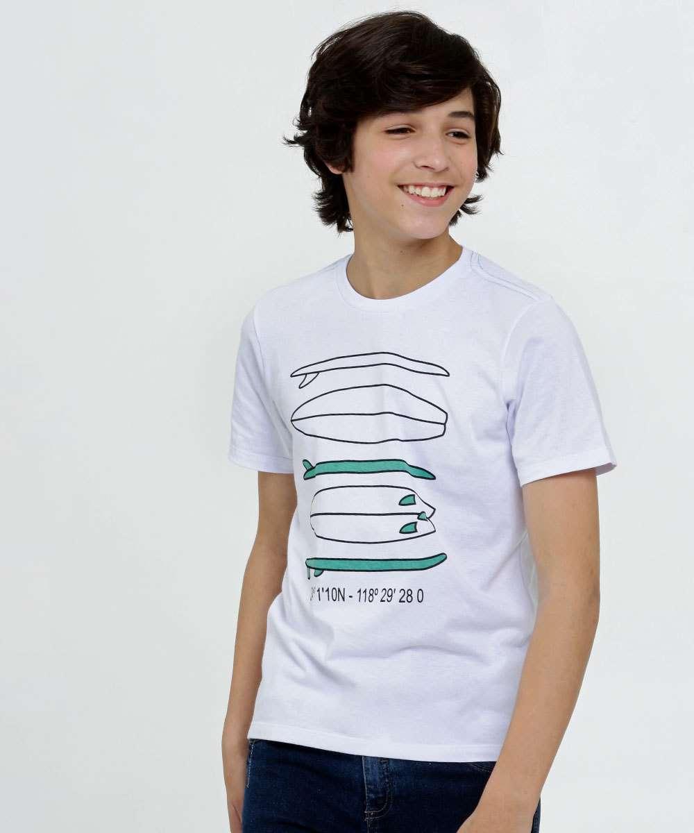 Camiseta Juvenil Estampa Prancha Manga Curta MR