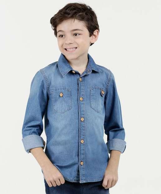 Image_Camisa Infantil Jeans Botões Marisa