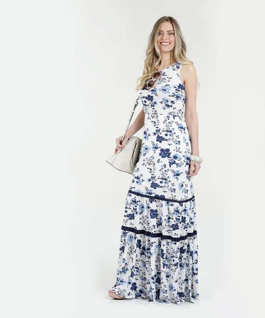 3acb3a45c9 Vestido Feminino Longo Floral Sem Manga Marisa