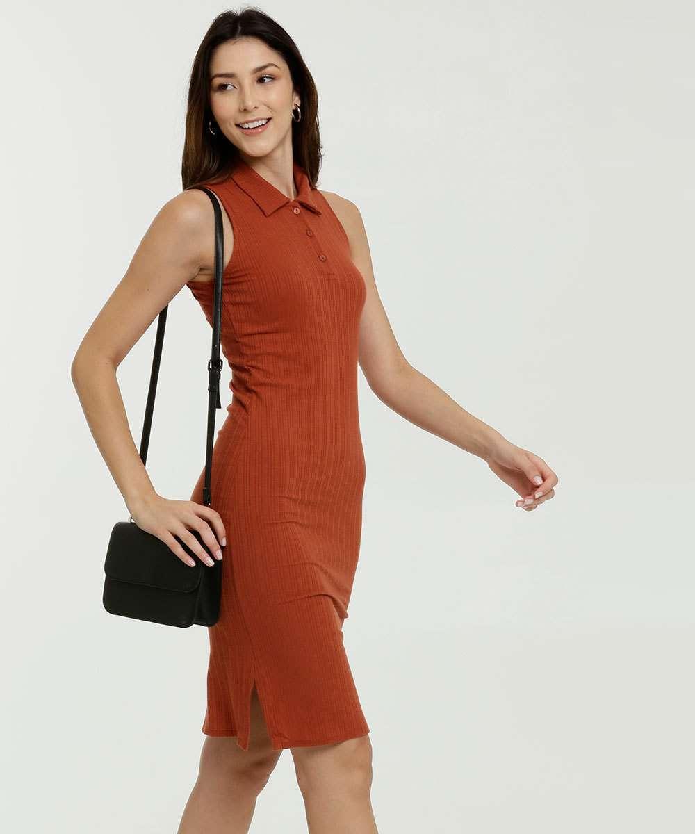Vestido Feminino Canelado Sem Manga