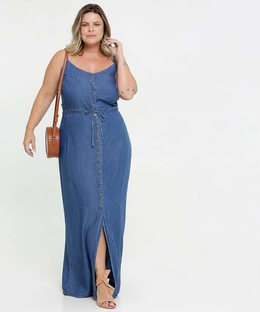 Image_Vestido Feminino Longo Jeans Alças Finas Plus Size