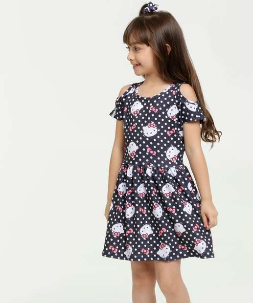 Image_Vestido Infantil Open Shoulder Estampa Hello Kitty Sanrio
