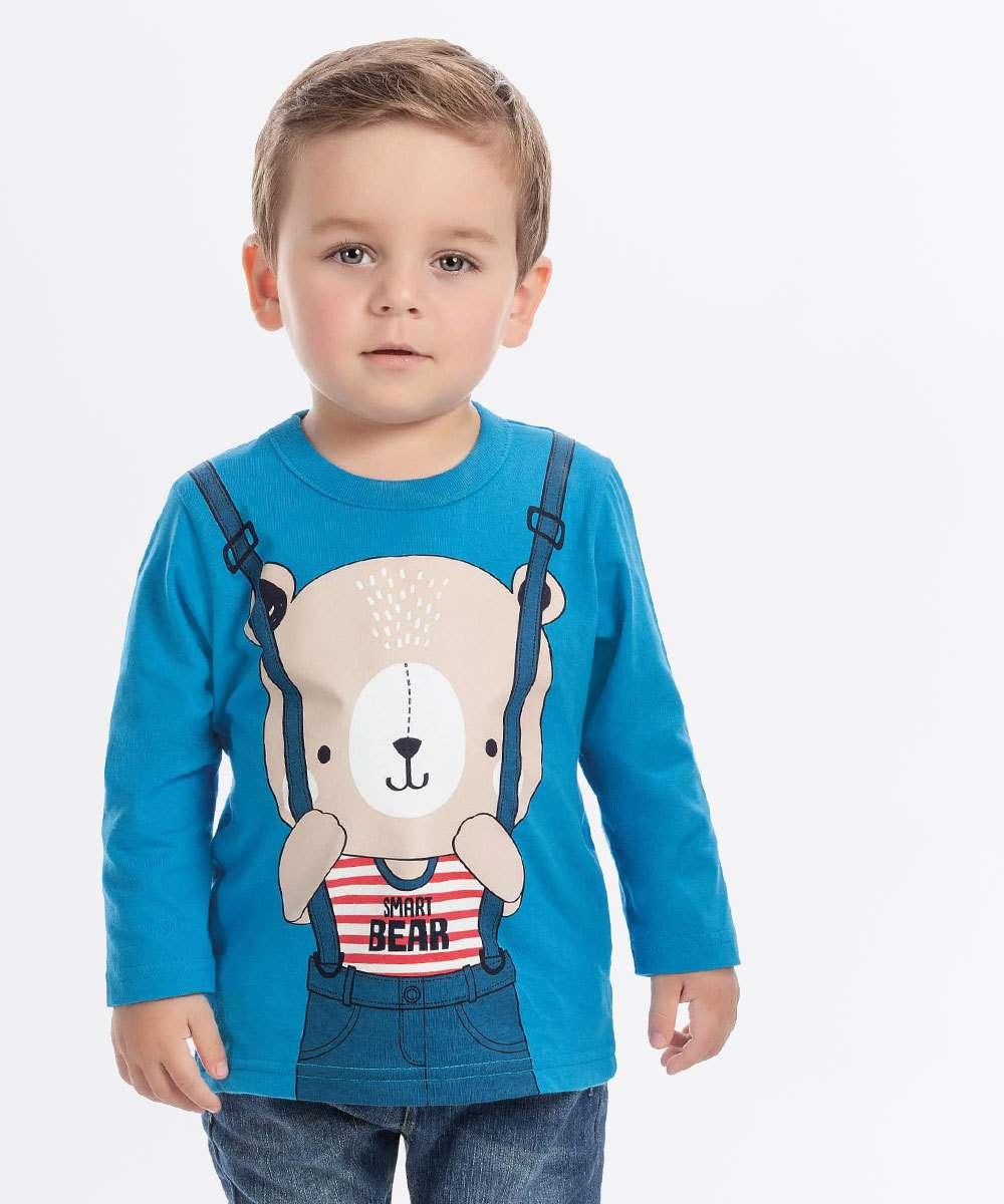 Camiseta Infantil Estampa Urso Manga Longa