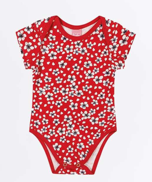 Image_Body Infantil Bebê Estampa Floral Manga Curta