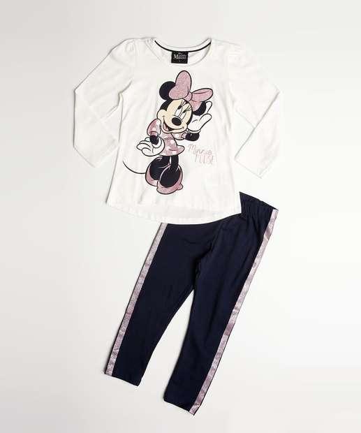 06c40d9b4d Conjunto Infantil Estampa Minnie Glitter Manga Curta Disney