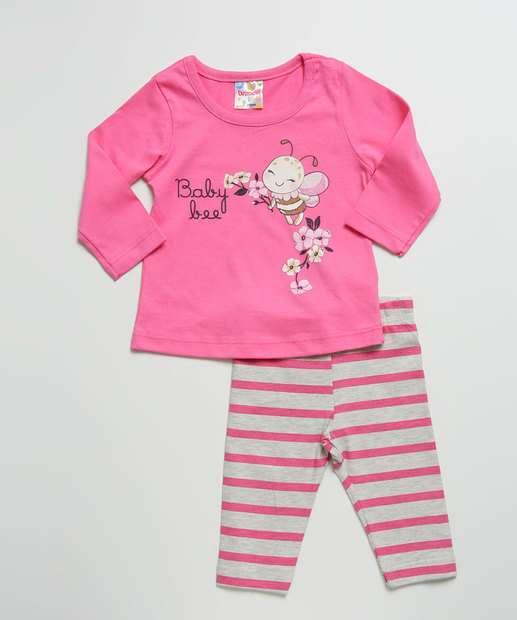 Image_Conjunto Infantil Bebê Estampa Abelha Manga Longa Brandili