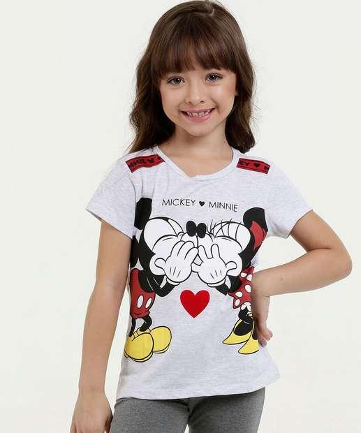 40f5761fe7 Blusa Infantil Estampa Mickey Minnie Manga Curta Disney