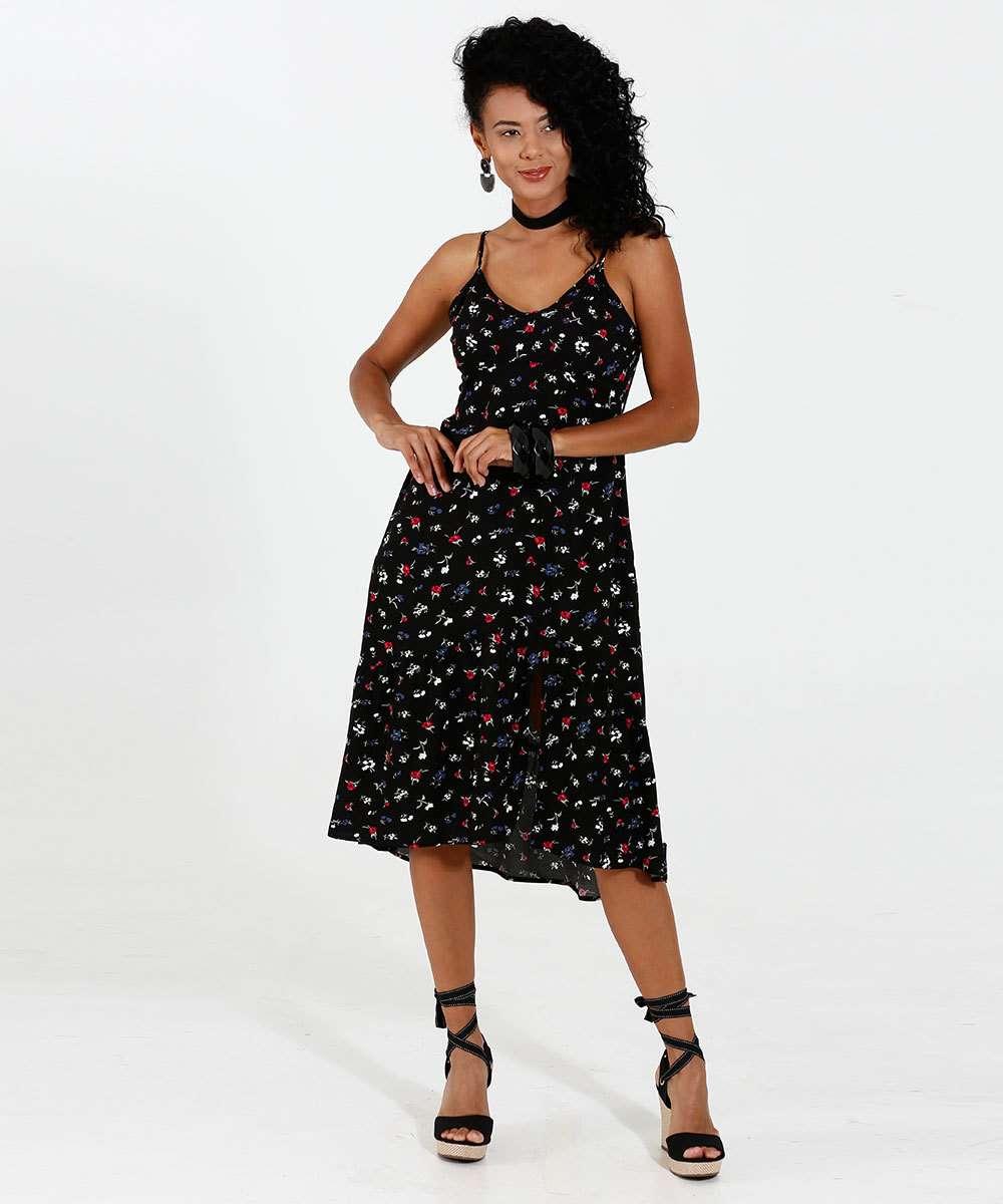 2aed677232 Vestido Feminino Midi Estampado Alças Finas Marisa | Marisa