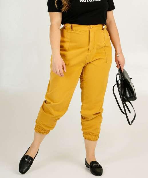 Image_Calça Plus Size Feminina Jogger Sarja Bolsos