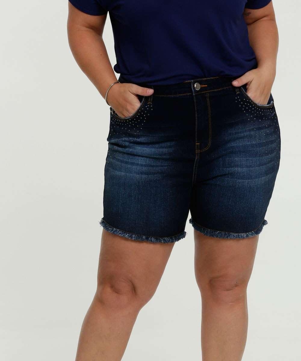 Short Feminino Jeans Bolsos Strass Plus Size Marisa