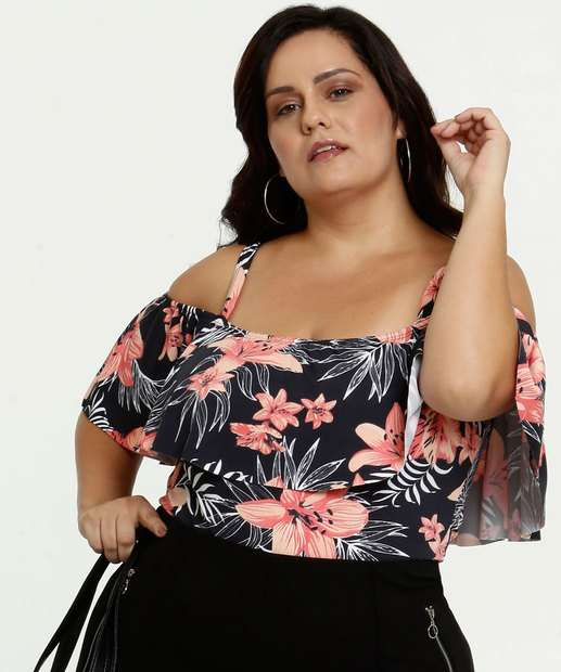 Image_Body Feminino Open Shoulder Estampa Tropical Plus Size