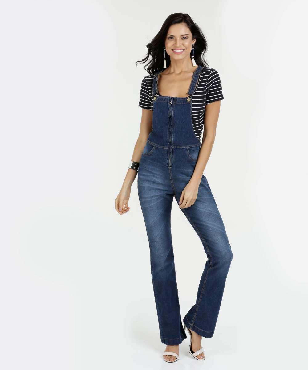 24ba414da Jardineira Feminina Jeans Stretch Flare Razon