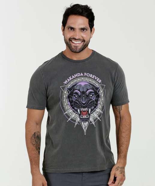 e18231e2f Camiseta Masculina Estampa Pantera Negra Manga Curta Marvel