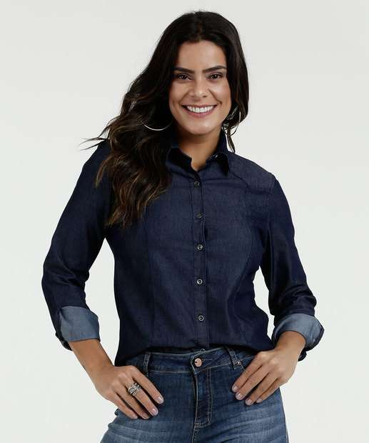 8a6a19e747 Camisa Feminina Jeans Manga Longa Marisa