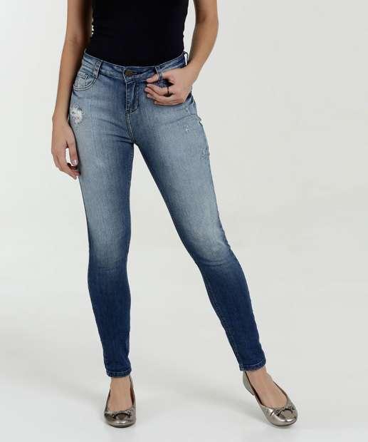Image_Calça Feminina Jeans Skinny Puídos Marisa