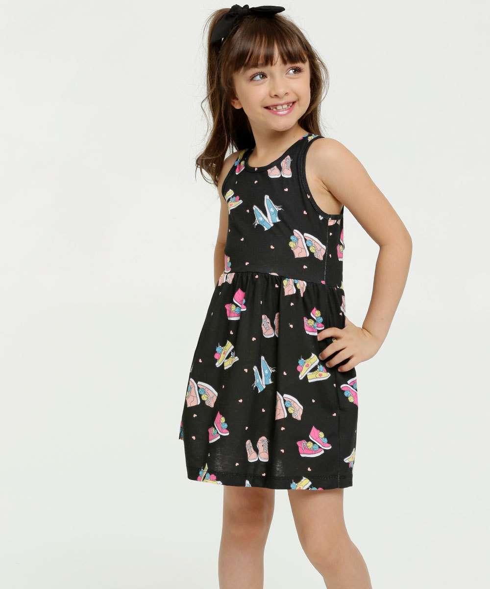 Vestido Infantil Estampa Tênis Sem Manga Brandili