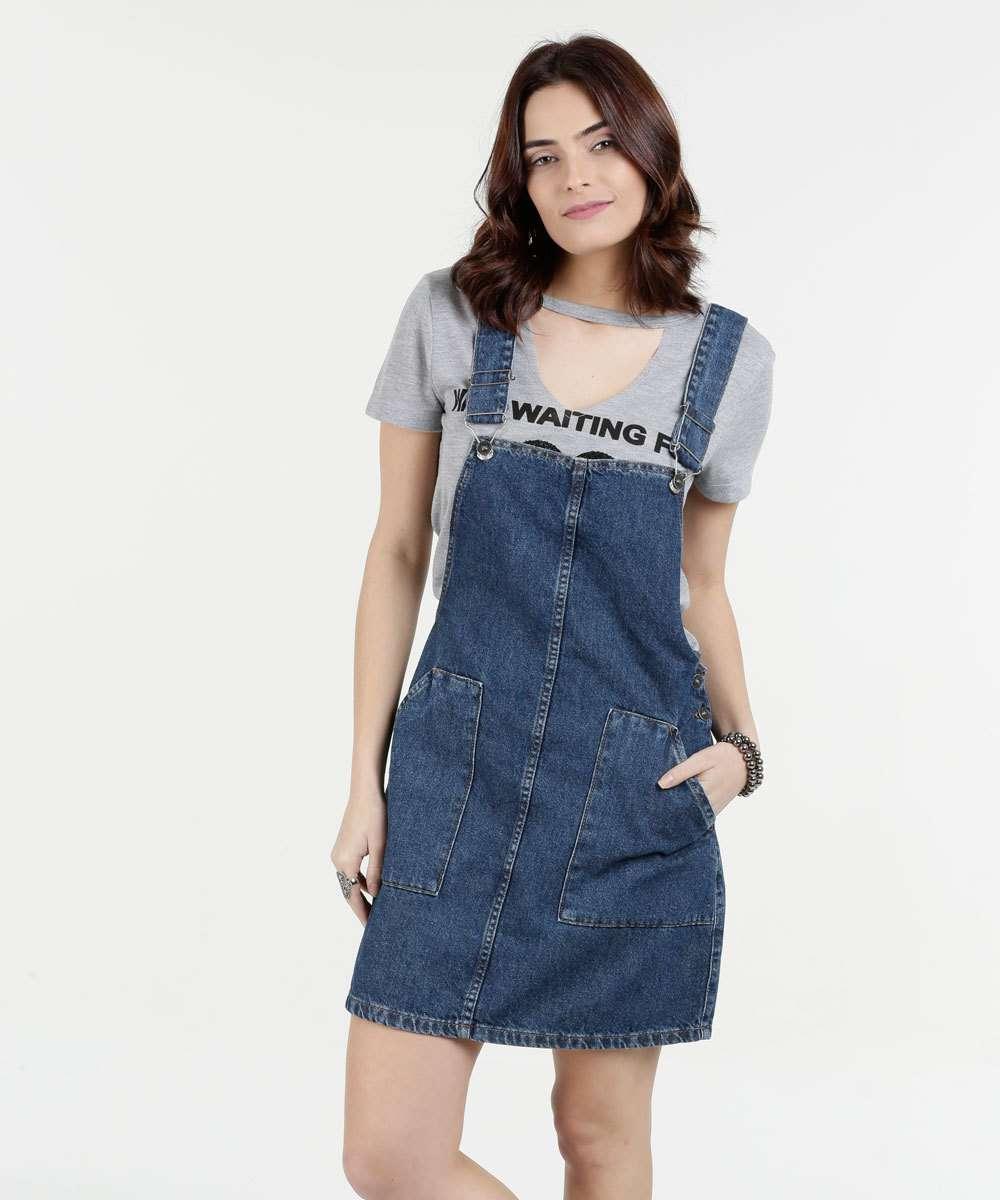 95e4f2891 Salopete Feminina Jeans Bolsos Marisa | Marisa