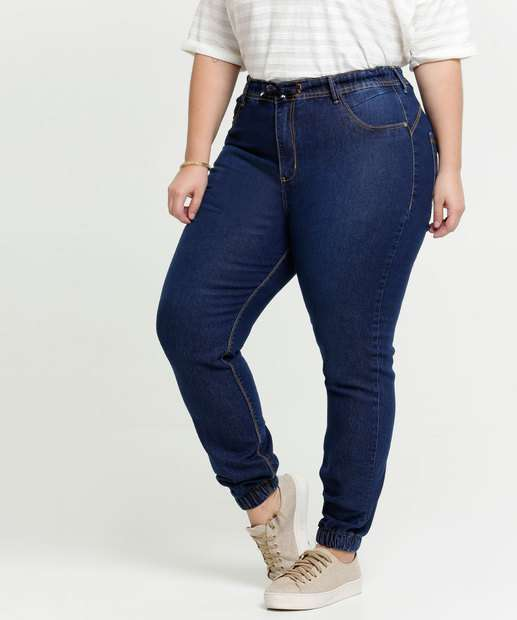 Image_Calça Plus Size Feminina Jeans Jogger Bolsos