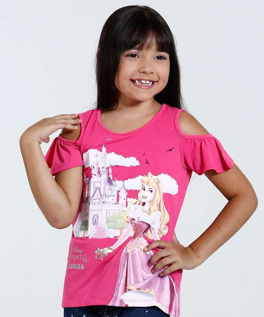Image_Blusa Infantil Open Shoulder Estampa Aurora Disney